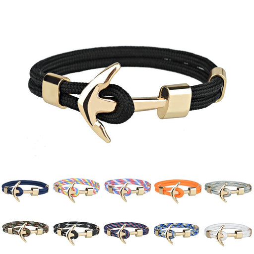 Kirykle Hot Sale Couple Bracelets Fashion Alloy Anchor Bracelets Bangles braided Polyester Rope Bracelets for Women Men Gifts - PanasiaMarine.Com