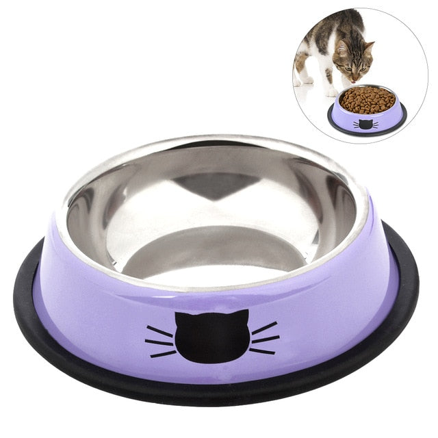 2019 New Stainless Steel Paint Pet Cat Bowl Pet Bowl Stainless Steel Non-Skid Rubber Base Dog Bowl Cat Bowl For Food Water - PanasiaMarine.Com