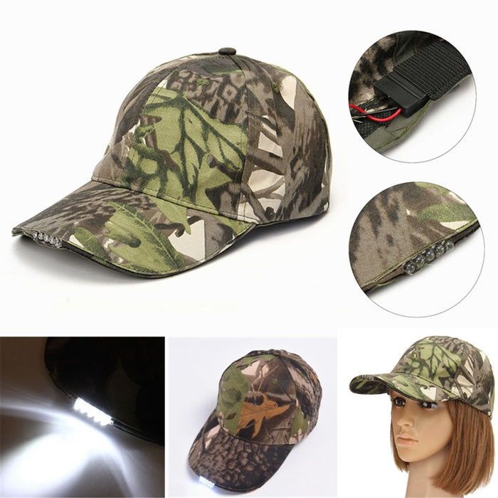 Unisex 5 LED Headlamp Cap Battery Powered Hat With LED Head Light Flashlight Head Lamp Lantern For Fishing Jogging Baseball Cap - PanasiaMarine.Com