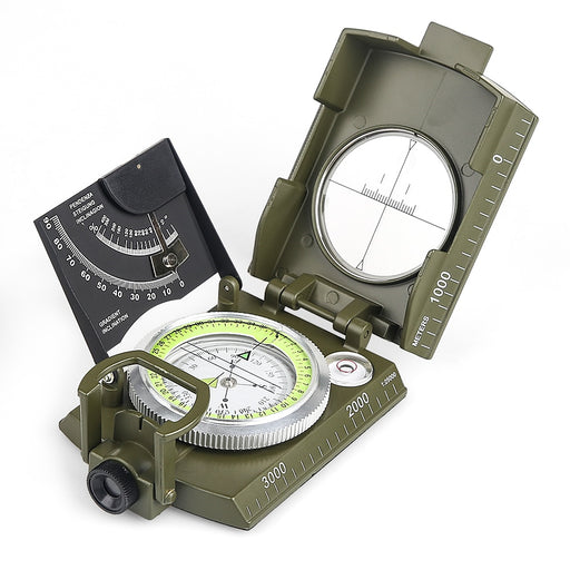Multifunctional Compass All Metal Military Waterproof High Accuracy Compass with Bubble Level for Outdoor Activities - PanasiaMarine.Com