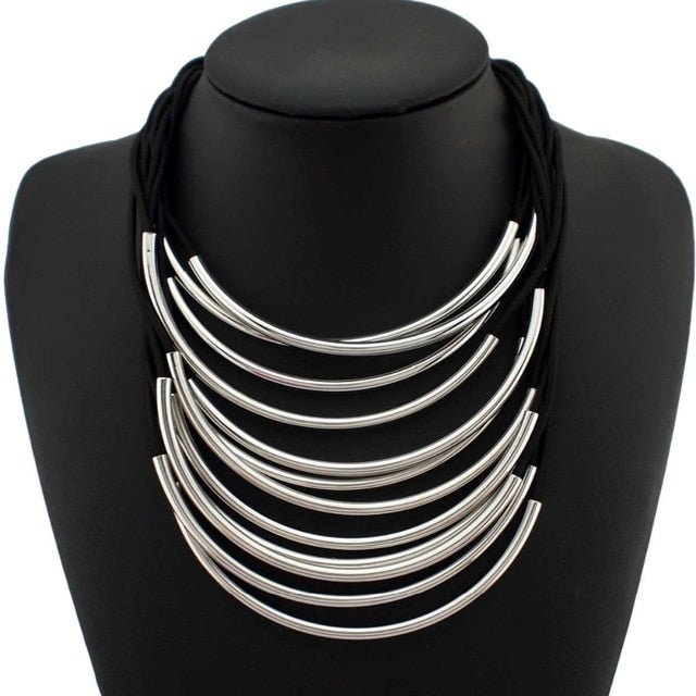 MANILAI Multi Layers Statement Necklaces For Women Maxi Choker Fashion Jewelry Rubber Band Bright Metal Pipe Pendants Necklaces - PanasiaMarine.Com
