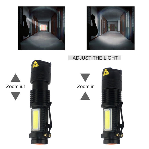 3800LM XML-Q5+COB Powerful Rechargeable Led Torch Mini Pocket Flashlight Led Rechargeable Use AA 14500 Battery Waterproof - PanasiaMarine.Com