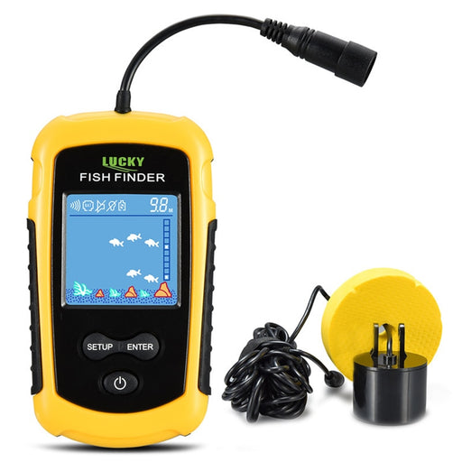 Lucky FFC1108-1 100M Fish Finder Wired Alarm Sonar Sensor LCD Fish Finders Fishing Lure Echo Sounder Fishfinder - PanasiaMarine.Com