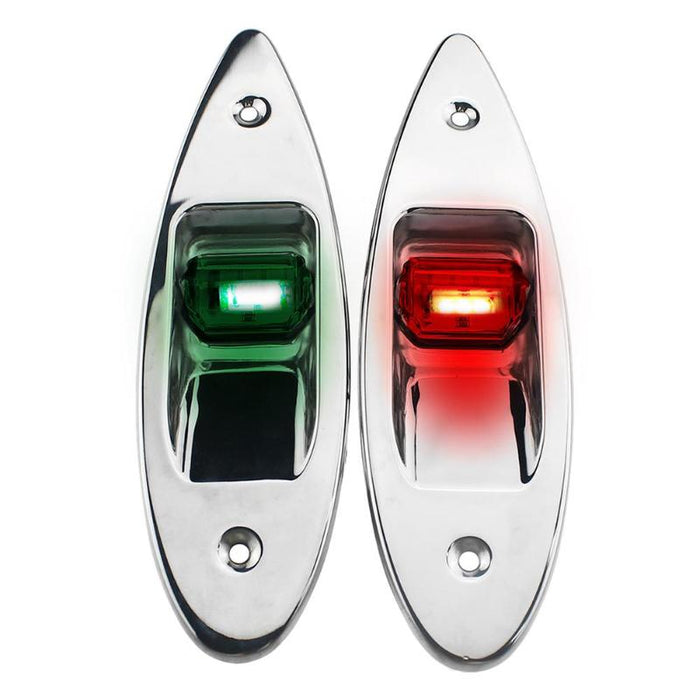 1 Pair 12V Flush Mount Marine Boat RV Side Navigation Light Red Green LED Stainless Steel Yacht Side Bow Tear Drop Lamp - PanasiaMarine.Com