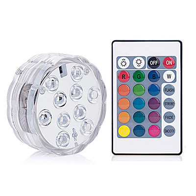 10 Led Remote Controlled RGB Submersible Light Battery Operated Underwater Night Lamp Outdoor Vase Bowl Garden Party Decoration - PanasiaMarine.Com