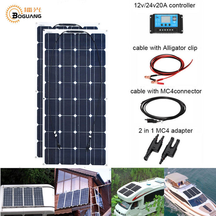 2pcs 100w 200W Flexible Solar Panel Cell Module System RV Car Marine Boat Home Use 12V /24V DIY Kit Solar Panels painel solpanel - PanasiaMarine.Com