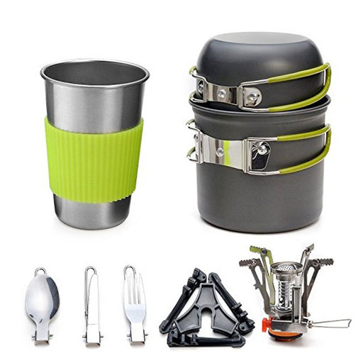 Outdoor Camping Hiking Picnic Teapot Pot Set Portable Cookware Mess Kit Carabiner Camping Cookware Stove With Tea Cup Coffee Cup - PanasiaMarine.Com
