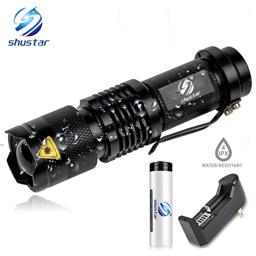 Mini LED Flashlight 4000LM Q5 T6 LED Torch Adjustable Focus Zoom Flash Light Lamp use 14500 and 18650 battery Give gift - PanasiaMarine.Com