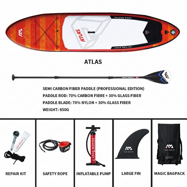AQUA MARINA ATLAS Surfing Board New Surf Board SUP Surfboards Inflatable Surf Board Stand Up Paddleboard Surf Board 366*84*15cm - PanasiaMarine.Com