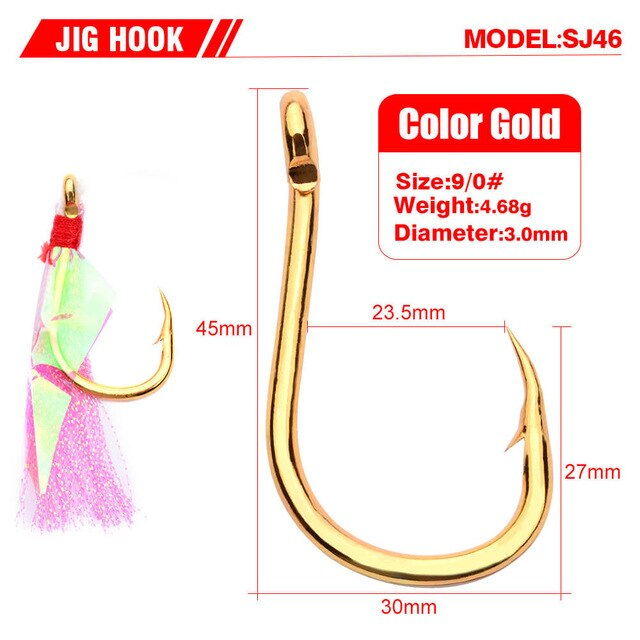 5pcs/set Stainless Steel Barbed Assist Feather Hooks Jigging Hook with Flasher Fish Skin Sea Ice Ocean Boat All Fishing Position - PanasiaMarine.Com