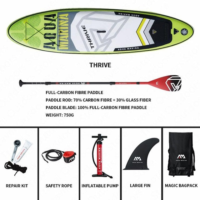 AQUA MARINA THRIVE Surfing Board Inflatable Surfboard SUP Paddle Surfing Board Stand Up SUP Paddleboard 300*75*15cm For Surfing - PanasiaMarine.Com