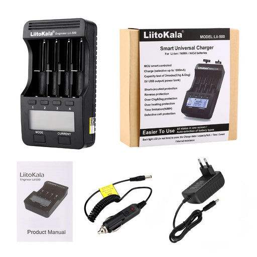 Liitokala lii-500 lii-500S LCD 3.7V 1.2V 18650 26650 21700 Battery Charger with screen ,Test the battery capacity Touch control - PanasiaMarine.Com