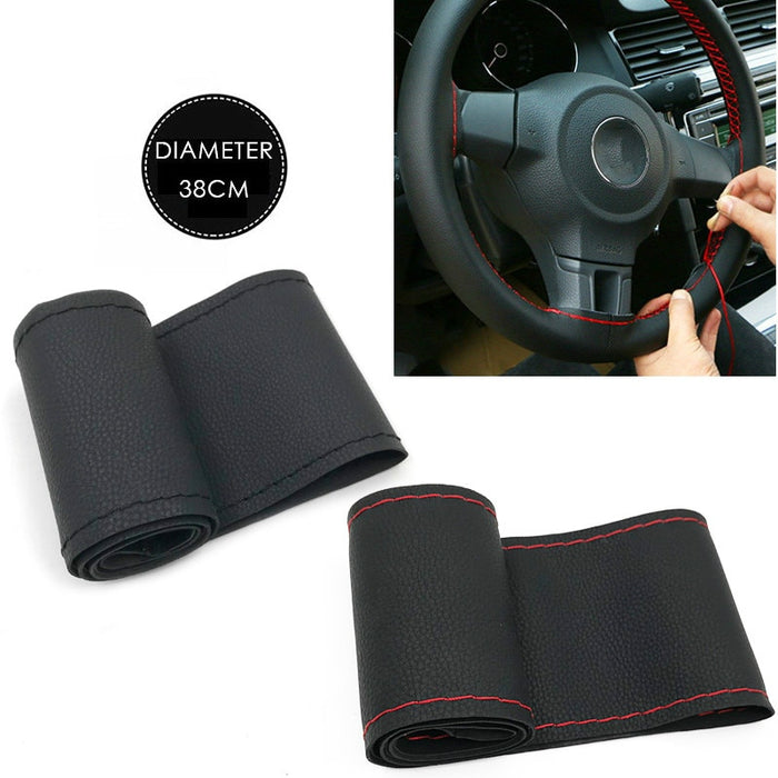 37cm/38CM DIY Steering Wheel Covers soft Leather braid on the steering-wheel of Car With Needle and Thread Interior accessories - PanasiaMarine.Com
