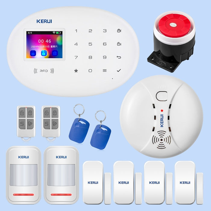 KERUI Wireless Home Security WIFI GSM GPRS Alarm System W20 APP Remote Control RFID Card Disarm System With 2.4 inch TFT Touch - PanasiaMarine.Com