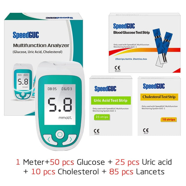 3in1 Multi-Function Cholesterol&Uric acid& blood glucose meter Monitoring system Diabetes Gout Device with Test Strips &Lancets - PanasiaMarine.Com