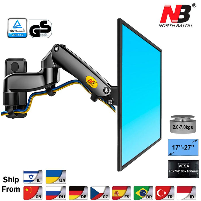 "NB F150 Aluminum Alloy 360 Degree 17""-27"" Monitor Holder Gas Spring Arm LED LCD TV Wall Mount Loading 2-7kgs - PanasiaMarine.Com"
