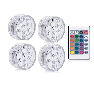 Battery Operated 10leds RGB Led Submersible Light Underwater Night Lamp Garden Swimming Pool Light for Wedding Party Vase Bowl - PanasiaMarine.Com