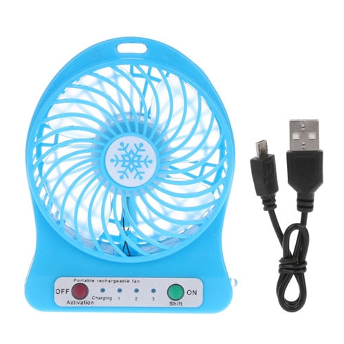 Portable LED Light  Mini Fan Air Cooler Mini Desk USB Fan Third Wind USB Fan Rechargeable ABS Portable Office Outdoor Home - PanasiaMarine.Com