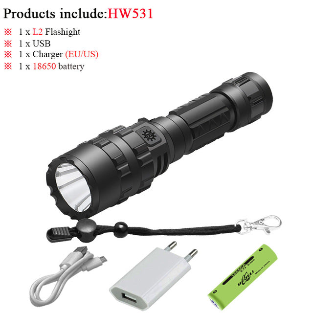 60000 lumens most powerful tactical flashlight usb torch light rechargeable hunting led flashlight cree xml l2 hand lamp - PanasiaMarine.Com