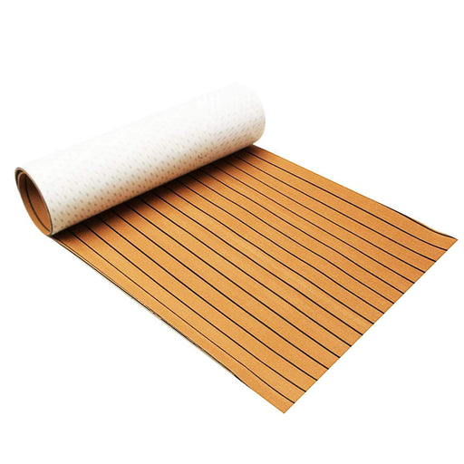 Self-Adhesive 240cmx90cmx5mm Gold With Black Lines Marine Flooring Faux Teak EVA Foam Boat Decking Sheet - PanasiaMarine.Com