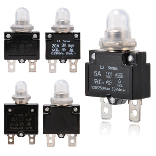1X 5A/10A/15A/20A/30A Circuit Breaker 12V/24V Push Button Resettable Thermal Circuit Breaker Panel Mount With Waterproof Cap - PanasiaMarine.Com