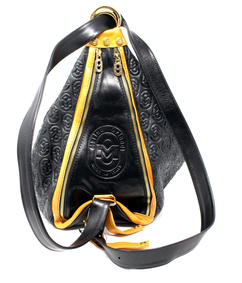 MARINO ORLANDI EMBOSSED LEATHER BACKPACK