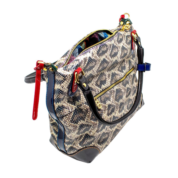 MARINO ORLANDI PYTHON LEATHER SATCHEL BAG