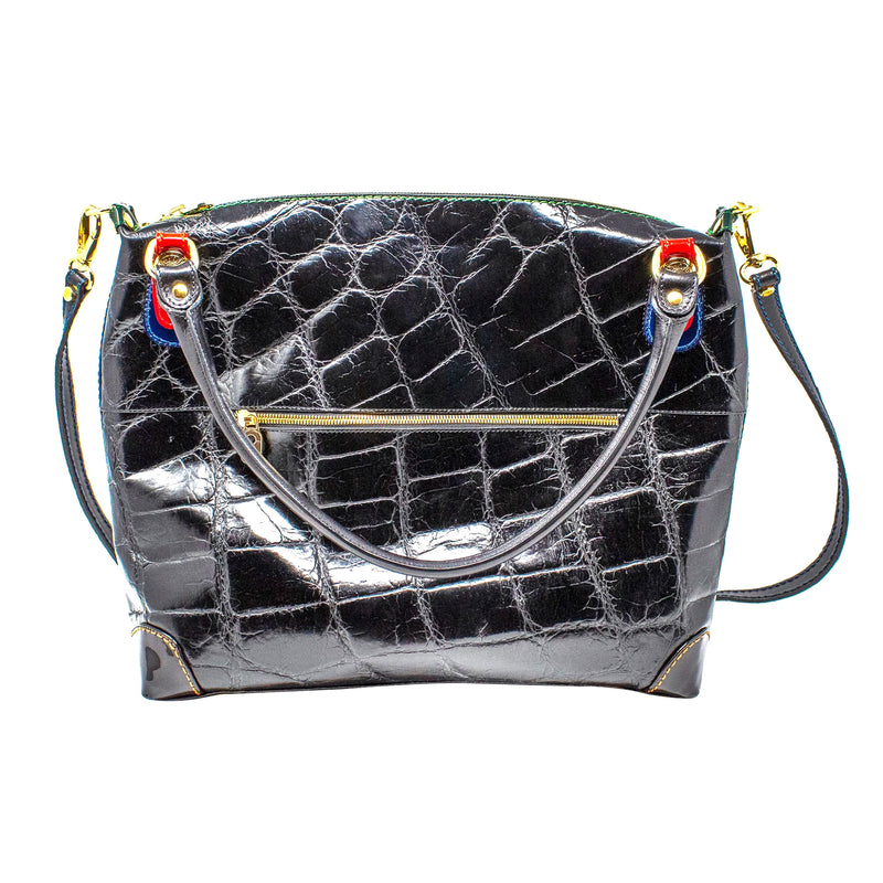 MARINO ORLANDI CRACKLED CROCODILE SHOULDER BAG