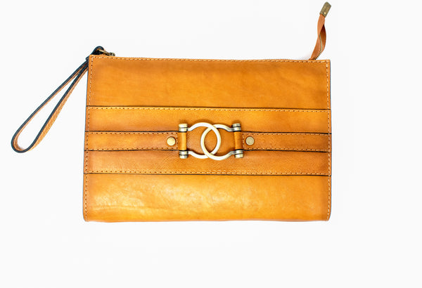 PRATESI ITALIAN LEATHER RAGGIOLI ZIPPERED WRISTLET