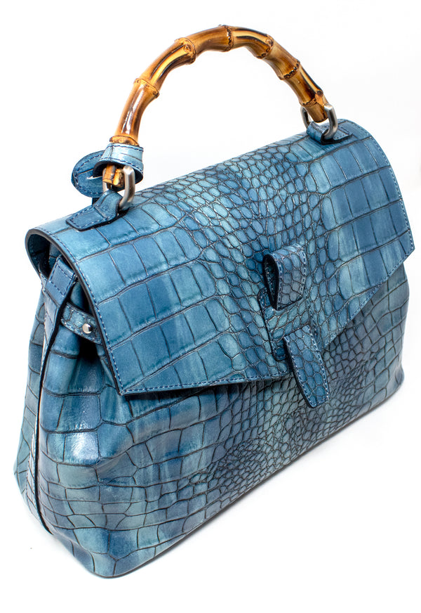 CLAUDIA FIRENZE EMBOSSED CROCODILE LEATHER HANDBAG
