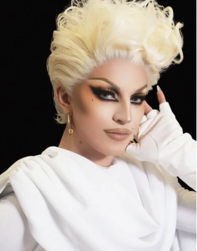 Rupauls Drag Race winner Aquaria pictured Wearing Claw and Saber Earrings
