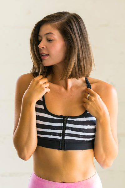 Flexi Lexi Fitness Chic Stripes Flexi Front Zipper Sports Bra