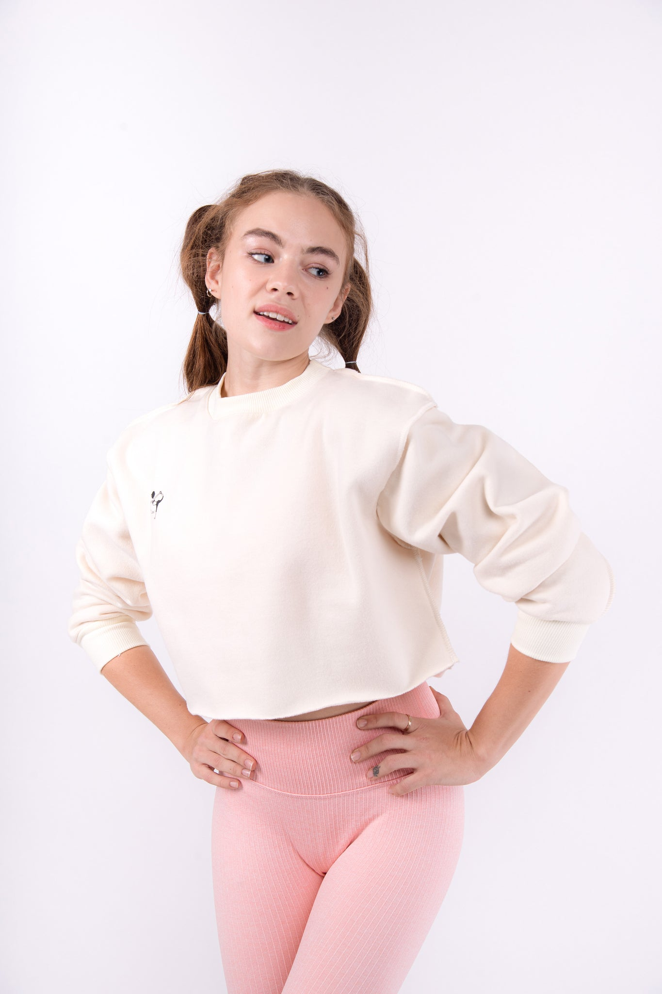Beige Flexi Sweat Crop