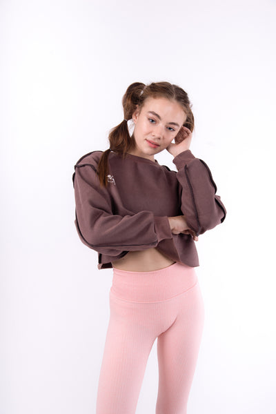 Mauve Brown Flexi Sweat Crop