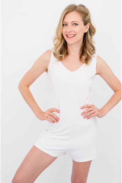 Flexi Short Romper - White