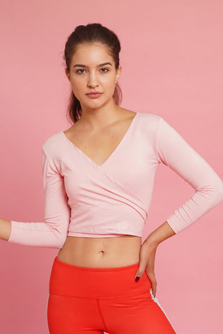 Baby Pink Wrap Crop