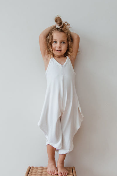 Mini Long Romper - White