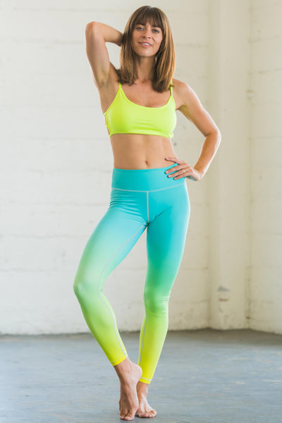 Flexi Lexi Fitness Mint Neon Yellow Ombre Flexi Pants