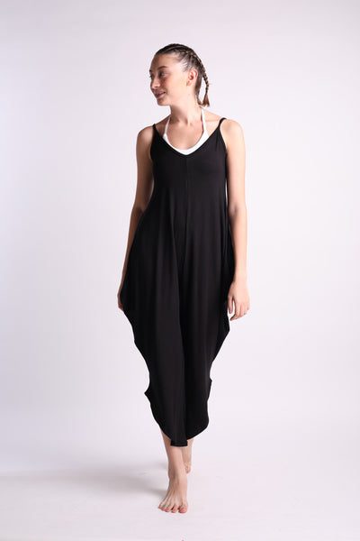 Flexi Long Romper - Black