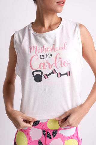 Motherhood is My Cardio Crop Top