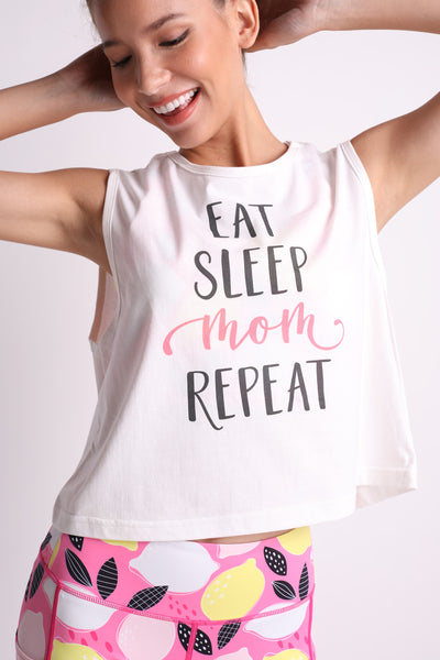 Eat Sleep Mom Repeat Crop Top