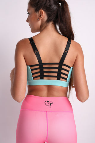 Two Tone Flexi Nursing Sports Bras (Mint and Pink)
