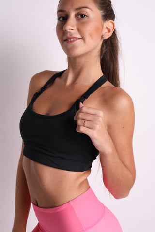 Y Back Flexi Nursing Sports Bras (Black)