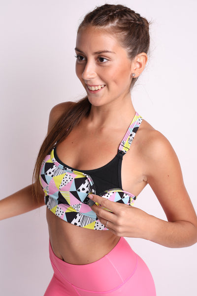 Y Back Flexi Nursing Sports Bra (Fun Mosaic)