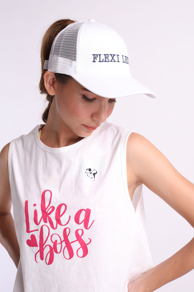 Flexi Ponytail Cap (White)