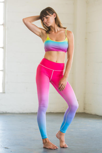 Flexi Lexi Fitness Pink Blue Ombre Flexi Pants