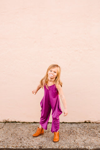 Mini Long Romper - Mulberry