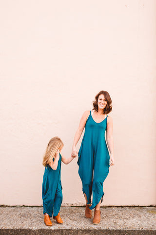 Mini Long Romper - Peacock