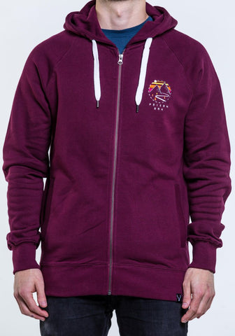 Highland Zip Hoody - Burgundy