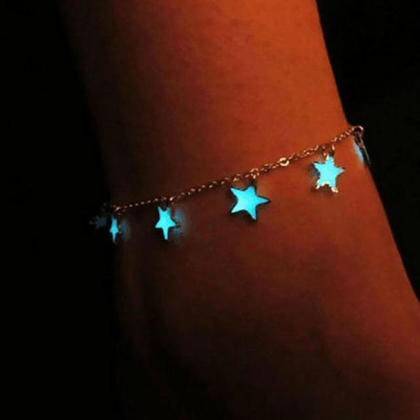 Boho Star Pendent Glow in the dark Chain Anklet - The Young Hippie